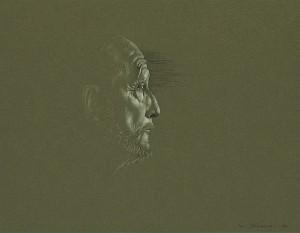Simeón II de Bulgaria. Dibujo a lápiz, 35 x 44 cm. 2005