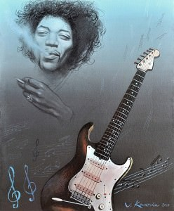 Jimi Hendrix. Óleo sobre lienzo, 46 x 38 cm. 2010
