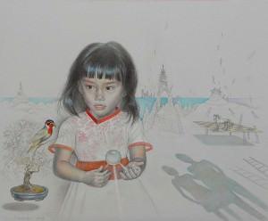 Cristina. Dibujo a lápiz, 65 x 77 cm. 2009