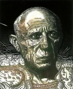 Picasso III. Aguafuerte y manera negra, 24 x 20 cm. 2001