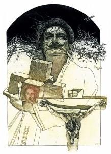 Dalí VI. Aguafuerte y manera negra, 24,5 x 17 cm. 2004